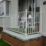 Beautiful white metal balcony railing, fitted in Largs, Ayrshire to compliment the property and existing patio furniture.