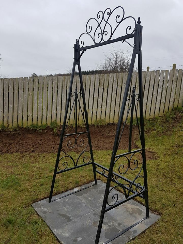 This stylish garden swing will be an excellent centrepiece in your garden. The swing can be galvanised for long lasting, rust free results and/or painted in the colour of your choice. Fitted in Ayrshire, Scotland.