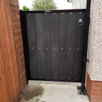 Composite wood and metal gate, Ayrshire, Scotland.