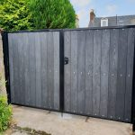 Composite driveway gates with lockable security lock by Dain Art Iron, Ayrshire.
