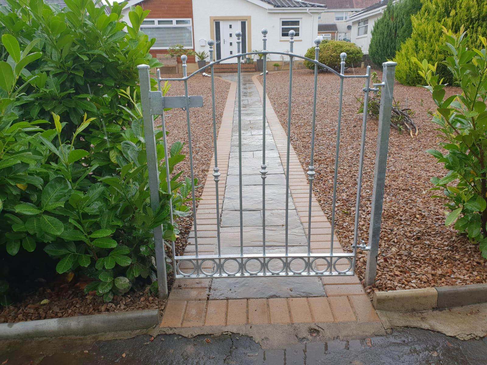 galvanized garden gate, Irvine, Scotland.