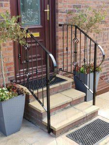 metal handrail, ayrshire, scotland, dain art iron