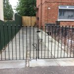 Simple but effective driveway gates with balls fitted in Kilmarnock by Dain Art Iron.