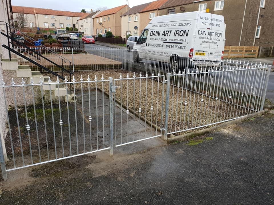 Galvanized metal garden fence low maintenance Kilmarnock by Dain Art Iron