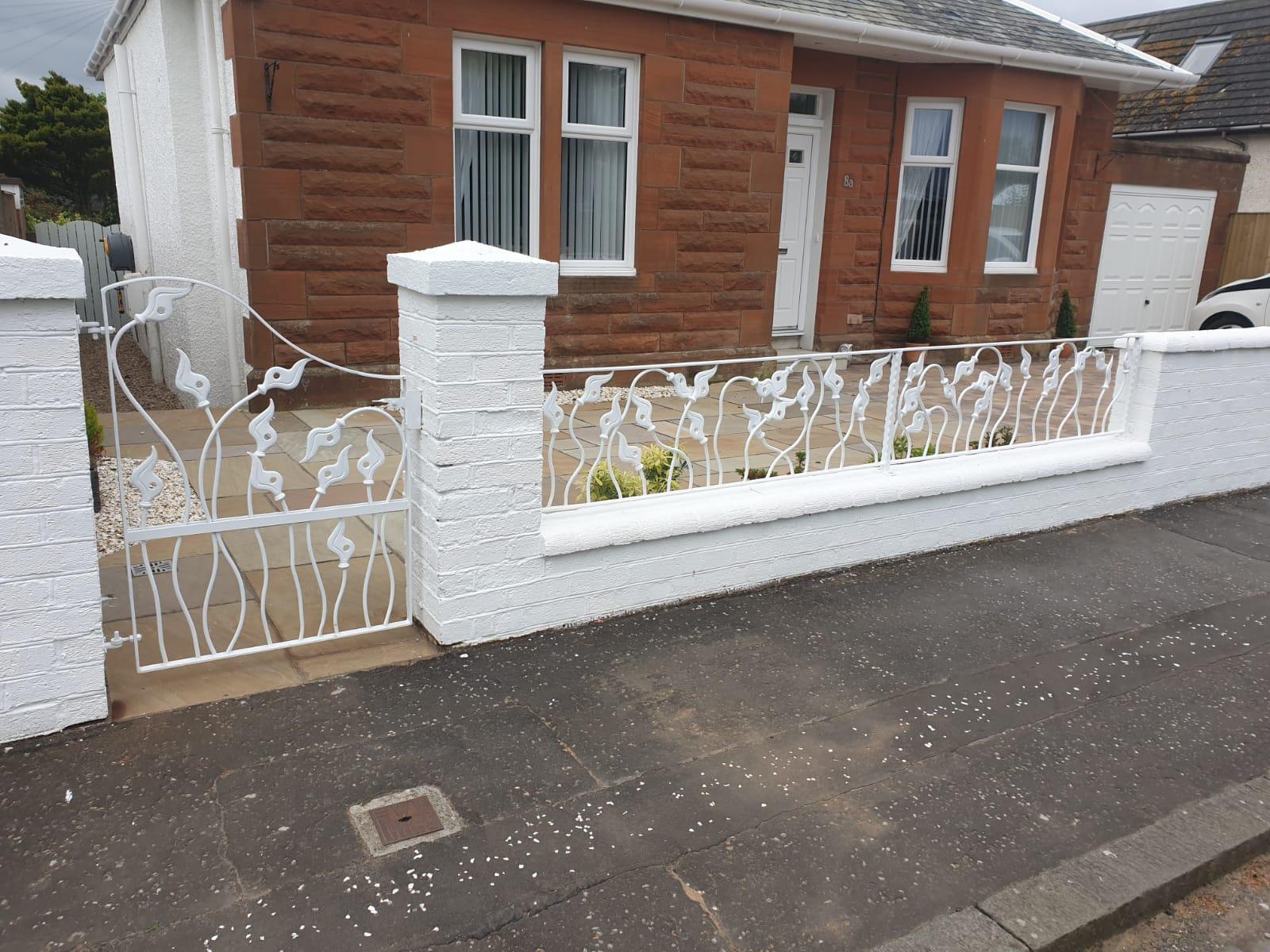 Custom wrought iron railing and gate by Dain Art Iron