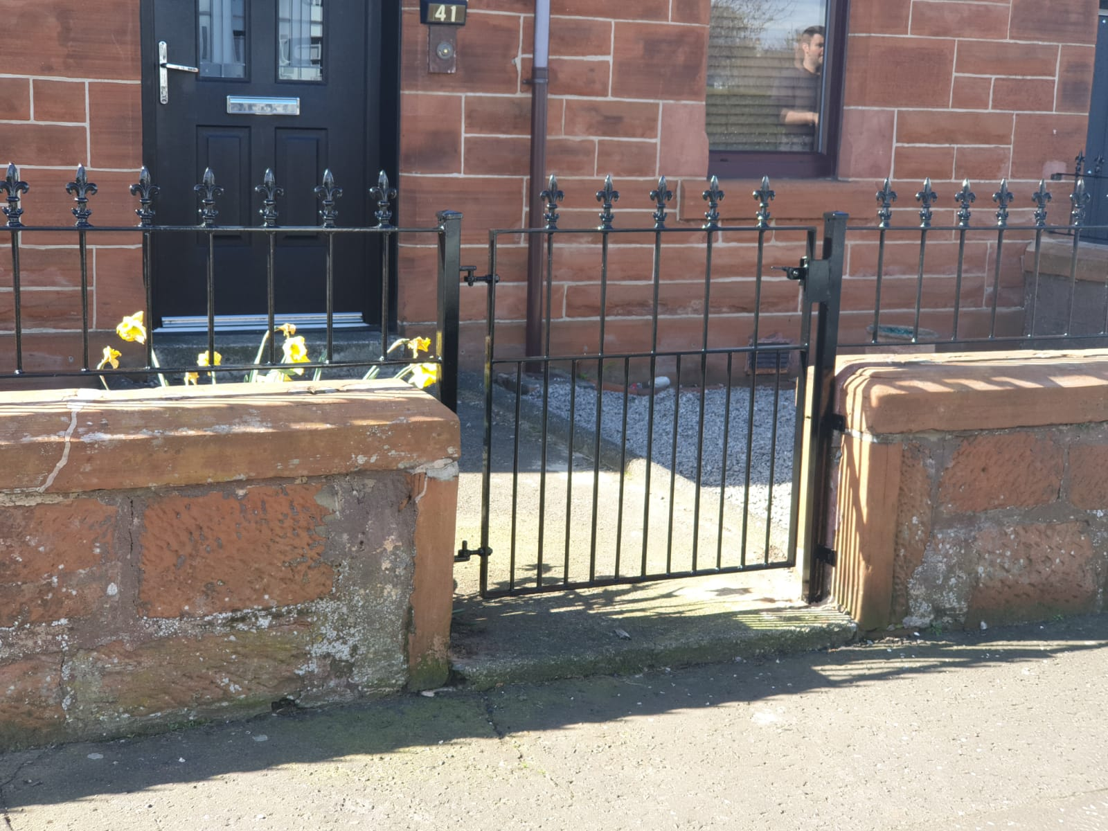 Traditional metal wall rail and gate by Dain Art Iron, Ayrshire.