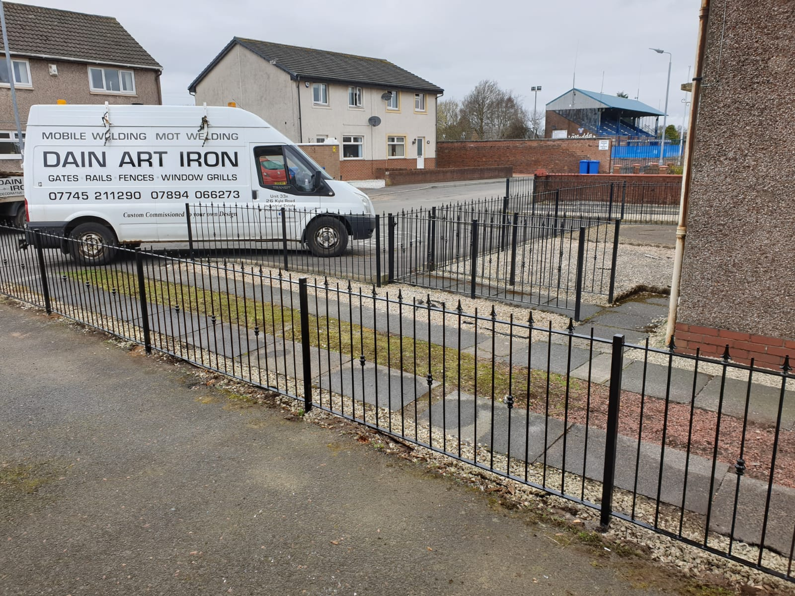Custom metal fencing designed, fabricated and installed by Dain Art Iron, Ayrshire, Scotland.