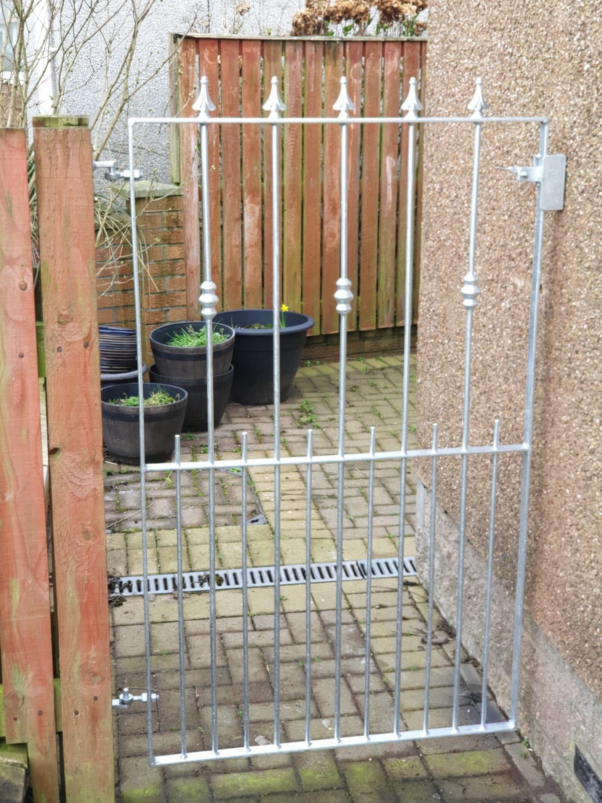 Low maintenance galvanized metal garden gate Dain Art Iron, Scotland.