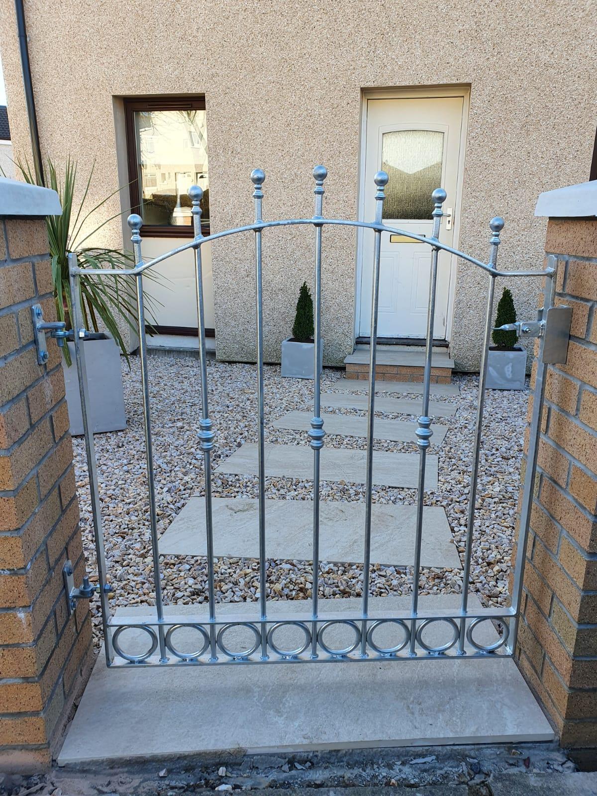 Galvanized garden gate installed by Dain Art Iron in Ayrshire