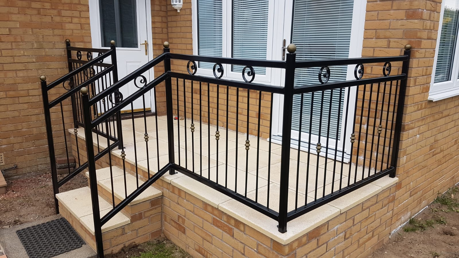 Decorative, made to measure handrail for platform installed in Stevenston by Dain Art Iron