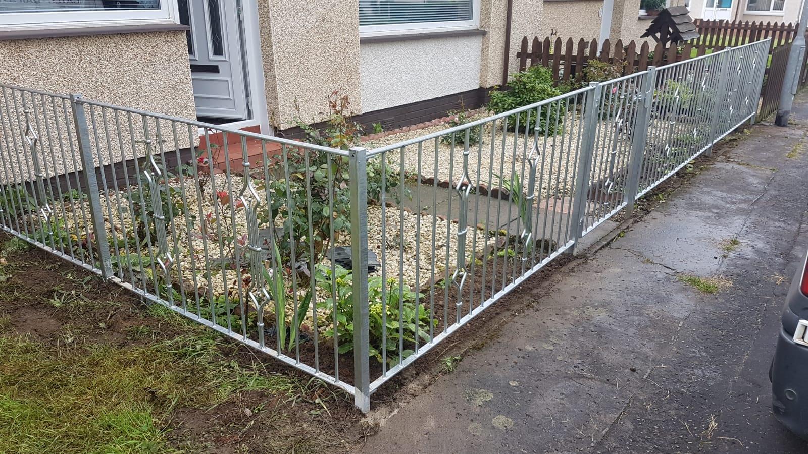 galvanized metal fencing by Dain Art Iron, Ayrshire Scotland.