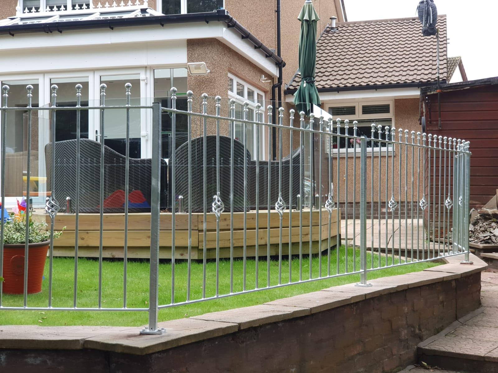 galvanized metal fencing railings by Dain Art Iron, Ayrshire Scotland.