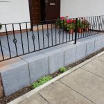 Short decorative metal railing installed by Dain Art Iron of Ayrshire, Scotland