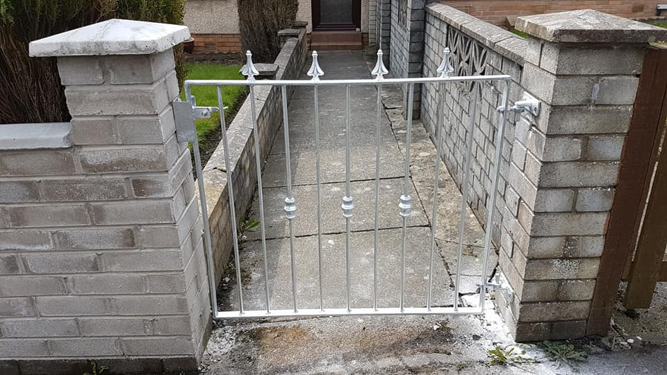 Galvanized metal gate fitted in Troon by Dain Art Iron