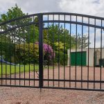 Modern arched metal gates with galvanized rust resistant frame
