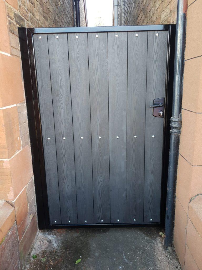 Composite wood side gate by Dain Art Iron, Ayrshire Scotland