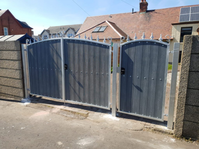 Composite wood and metal gates, Ayrshire Scotland