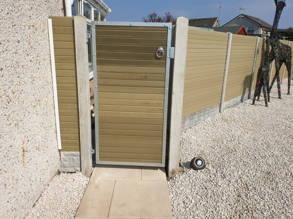 Custom made composite boards gates with galvanized steel frames
