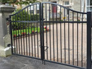 Contemporary bow arched driveway gates, Irvine Ayrshire.