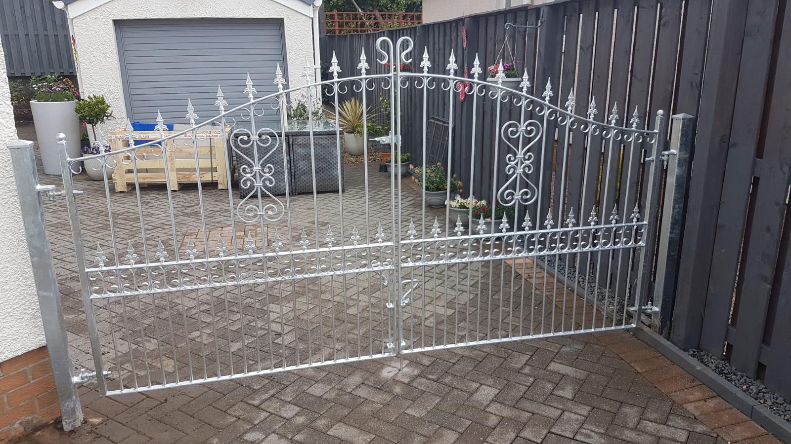 Decorative, galvanized, driveway gates. Ayrshire, Scotland.