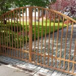 Contemporary full arched box section metal driveway gates, Ayrshire Scotland