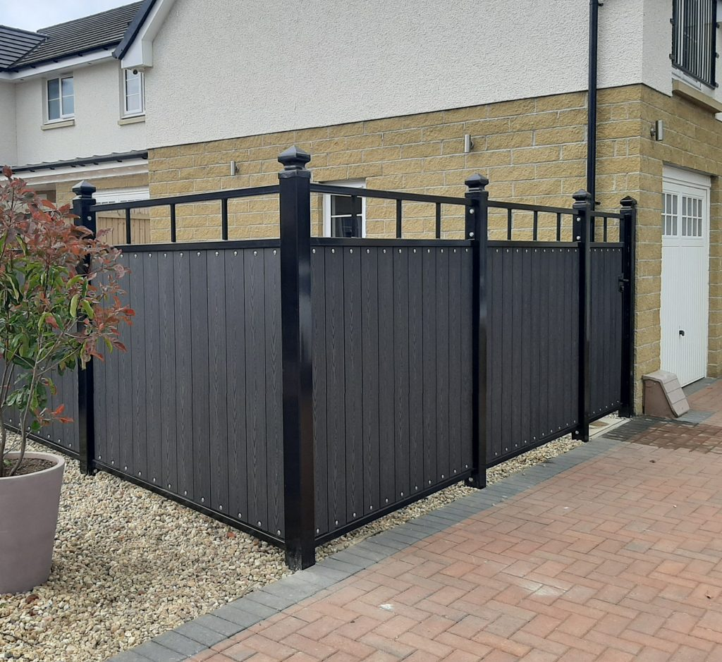Composite fence and gate with top trellis installed by Dain Art Iron in Irvine